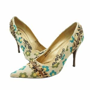 Naughty Monkey retro floral pumps